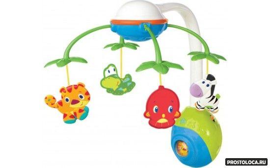 мобиль с пластиковыми игрушками