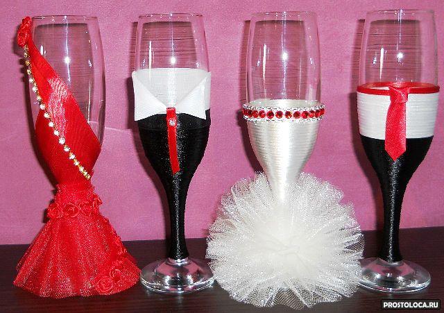 Свадебные бокалы с кружевом и лентами 75