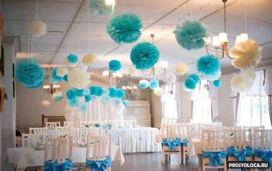 оформление свадебного зала в голубом цвете 2