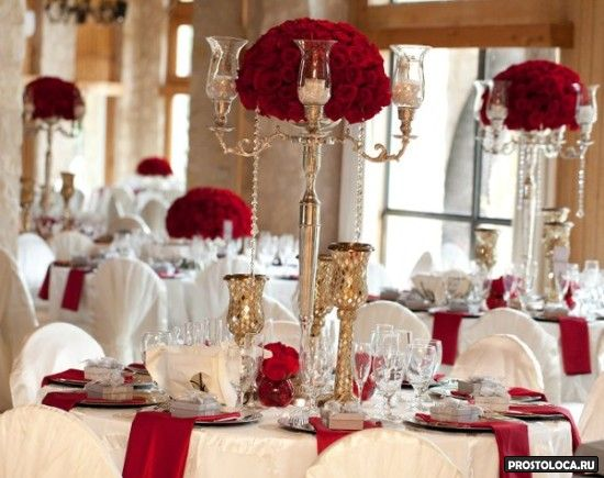 оформление свадебного зала в красном цвете 12