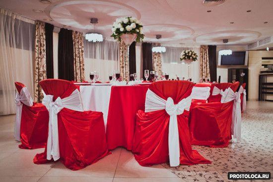 оформление свадебного зала в красном цвете 9