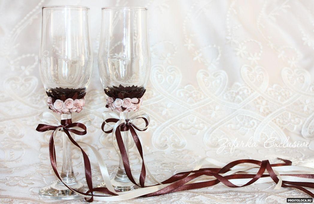 Свадебные бокалы с кружевом и лентами 180