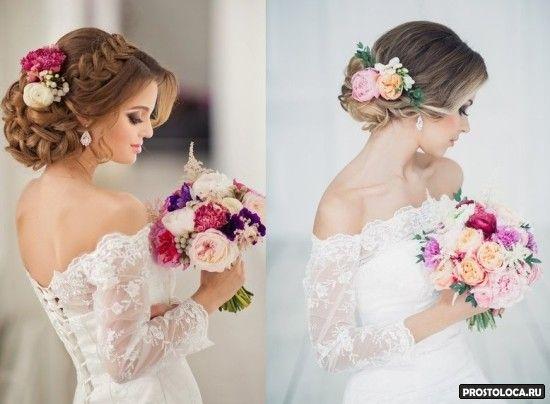 свадебные прически на длинные волосы 6