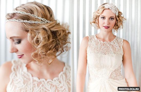 свадебные прически на короткие волосы 8