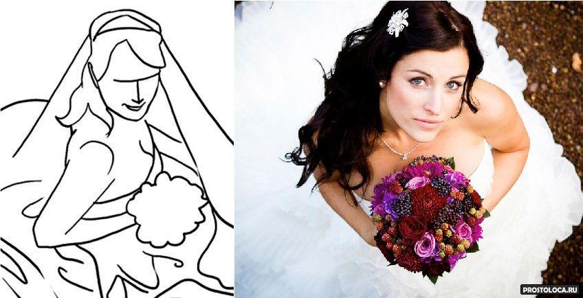 Как позировать в свадебном платье