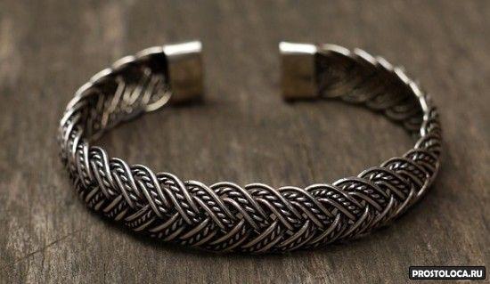 необычный мужской браслет из серебра