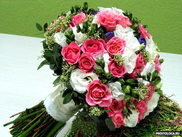 малиновый свадебный букет