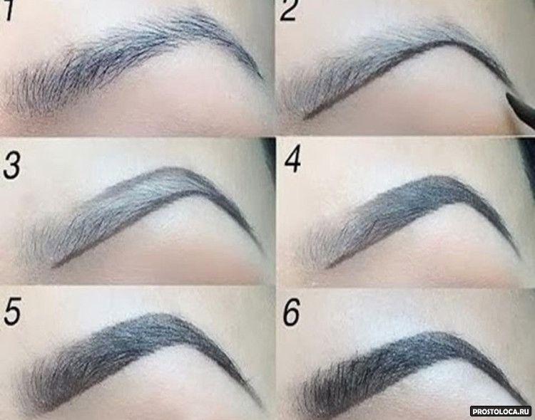 как рисовать брови при помощи теней