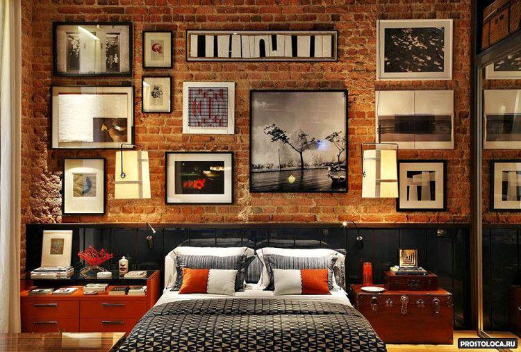 спальня в стиле лофт 11