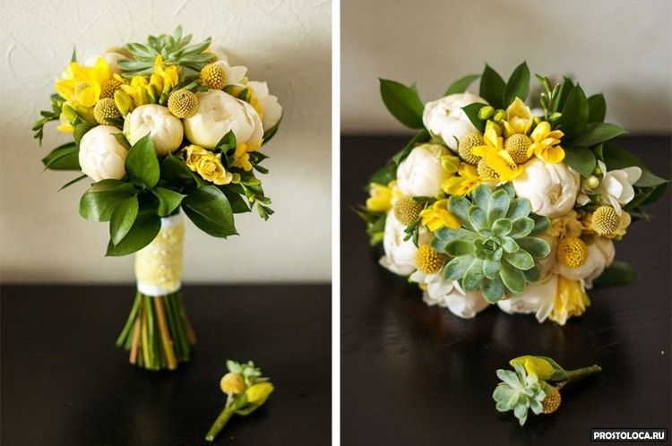 желтый свадебный букет 4