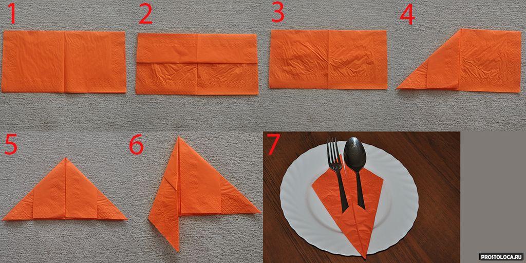 Способы сервировки стола салфетками бумажными