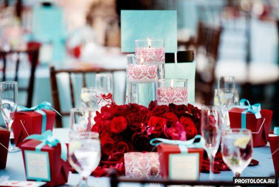 оформление свадебного зала в красном цвете 10