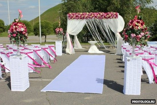оформление свадебного зала в розовом цвете 2