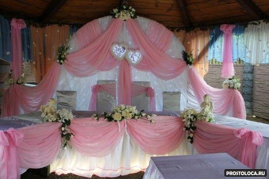 оформление свадебного зала в розовом цвете
