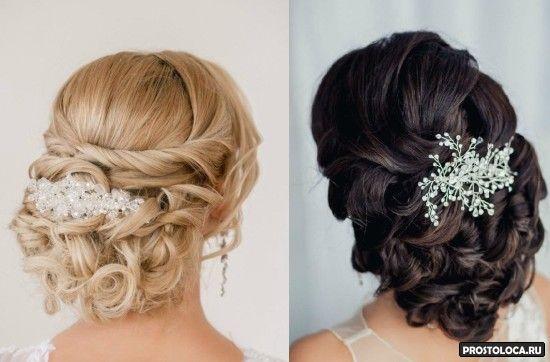 свадебные прически на средние волосы 2