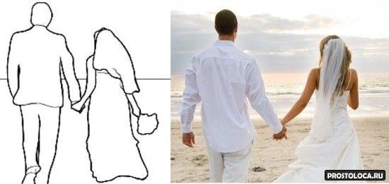 свадебная поза со спины