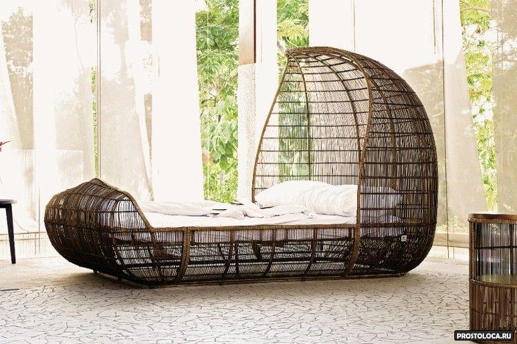 плетеные двуспальные кровати