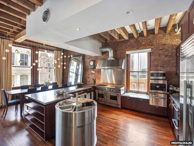 кухня в стиле лофт 21