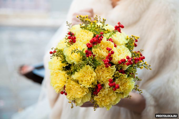 желтый свадебный букет 6