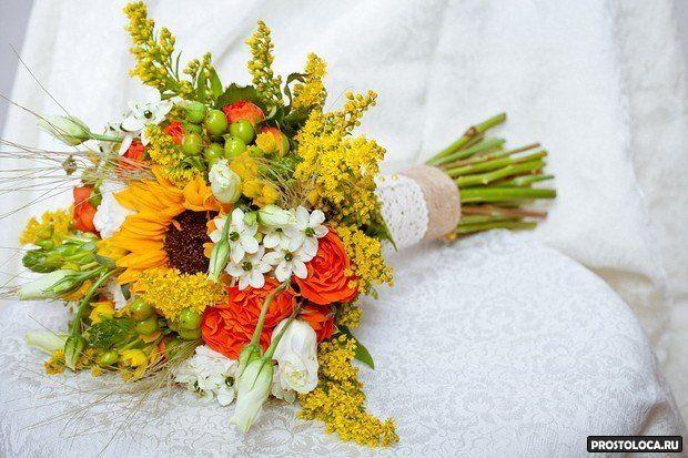 желтый свадебный букет